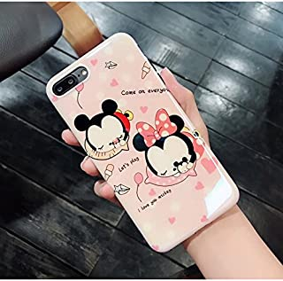 Ultra Slim Soft TPU Pink Minnie Mouse Case for iPhone7Plus 7+ 8Plus 8+ Large Size Shockproof Bling Glitter Shiny Smooth Disney Cartoon Tsum Tsum Cute Chic Lovely Stylish Cool Girls Women Teens Kids