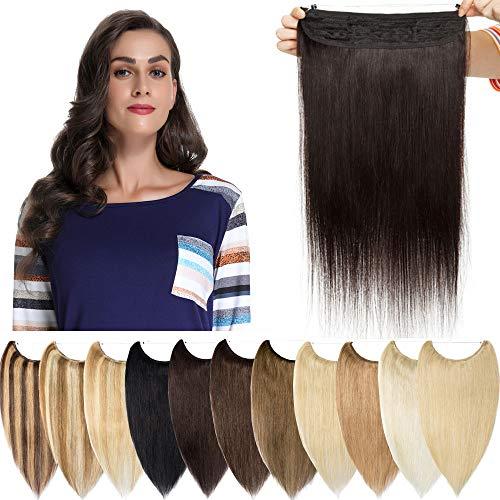 Extension à Double Fil Invisible Cheveux Naturel - Rajout 100% Cheveux Humain Remy Hair - Une Pièce Maxi Epaisseur (#1B Noir naturel, 22 Pouces-120g)
