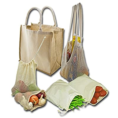 Simple Ecology Farmers Market and Grocery Shopping Organic Reusable Bag Sets (produce bags with drawstring, shopping bags with durable handles, gift set or starter set)