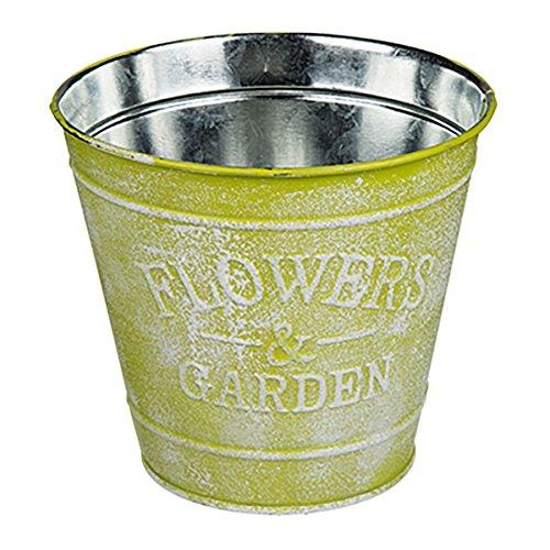 Objektkult Vintage Pflanztopf aus Metall, verwendbar als Blumentopf oder zur Dekoration, 3D-Imprint Flowers & Garden, 13,5 x 12 cm (H x B), passend zum Vintage-Look und Shabby-Stil, Farbe:gelb