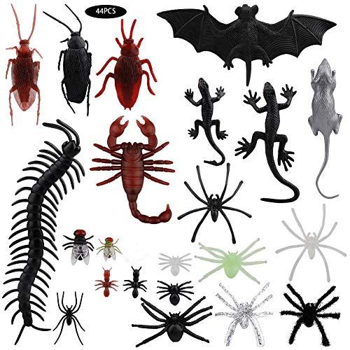Blanketswarm Juego de 44 insectos falsos juguete mini insectos realistas juego Bee Beetle Mantis Spider Gecko Scorpion niños niños pequeños Halloween fiesta Favor decoración
