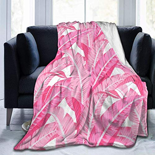 Fleece Blanket Roze Banana Leaves Tropisch patroon op White Home flanel Fleece Soft Warm Plush Throw Blanket voor baby/luier/sofa/kantoor/camping