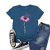 Women's Short-Sleeved Flower Pattern Faith Hope Love Breast Cancer Logo Printed T-Shirt tee Tops (S, Blue)