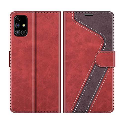 MOBESV Handyhülle für Samsung Galaxy M51 Hülle Leder, Samsung Galaxy M51 Klapphülle Handytasche Hülle für Samsung Galaxy M51 Handy Hüllen, Modisch Rot