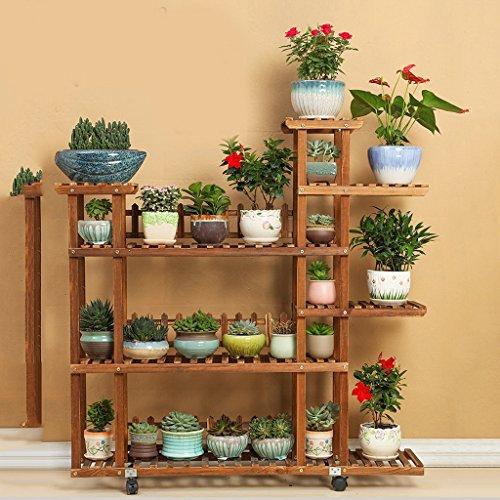 Porte-fleurs Supports à fleurs en bois massif, étagères à pots de fleurs à plusieurs étages, étagère à bonsaïs, étagère à fleurs en intérieur vert pour balcon salon, conception de double roue Support de fleurs ( Couleur : B )