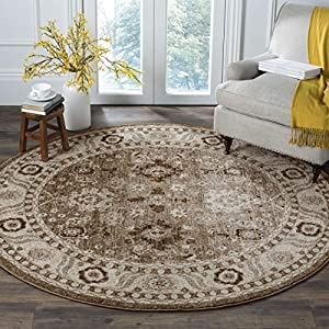 Safavieh Vintage Hamadan Collection VTH214T Oriental Traditional Persian Non-Shedding Stain Resistant Living Room Bedroom Area Rug, 3′ x 3′ Round, Taupe