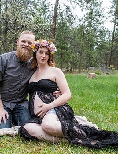 JENJON Mujer Embarazada Encaje Vestido de Fiesta Largos con Aberturas,Premamá Faldas Fotografía,Foto Shoot Dress de Maternidad Negro S