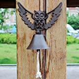LXYFMS Garden Owl Cast Iron Wrought Iron Doorbell Hand Crank Doorbell European Vintage Garden Decorative Wall Decoration 21.6x14.5x23cm Cast Iron doorbell