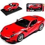 Ferrari F12 TDF Coupé marciume 2002-2017 18-26021 1/24 BBURAGO Modell Auto con oder SENZA individiuellem wunschkennzeichen - Mit Wunschkennzeichen