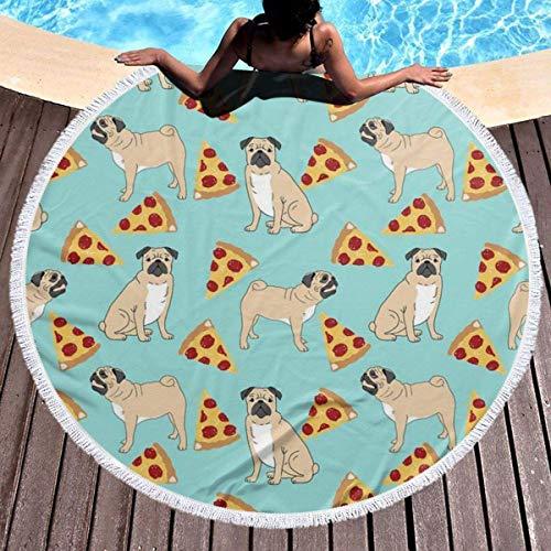 Toalla de playa redonda gruesa para fiestas de pizza, manta de picnic con borla circular, decoración de playa de microfibra para mujer