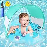 Baby Schwimmring, joylink Aufblasbare Baby Schwimmhilfe mit Abnehmbarem Sonnendach und Verstellbar Schwimmsitz, Schwimmtrainer Wasserspielzeug für Kleinkinder 6-18 Monate