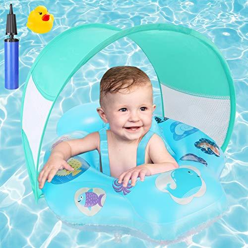 Baby Schwimmring, joylink Aufblasbare Baby Schwimmhilfe mit Abnehmbarem Sonnendach und Verstellbar Schwimmsitz, Schwimmtrainer Wasserspielzeug für Kleinkinder 18 + Monate
