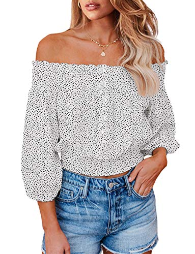 PRETTYGARDEN Women's Fashion Floral Print Off Shoulder Beige Tops Flare Long Sleeve Casual Loose Blouses Shirts Beige Small