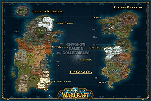 """CGC Huge Poster GLOSSY FINISH - World of Warcraft World Map PC - EXT184 (24"""" x 36"""" (61cm x 91.5cm))"""