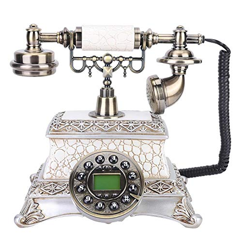 Liyeehao Corded Landline Phone, Rotary Dial Telephone, FSK/DTMF Dual System Old Fashion Antique Landline Telephone Classic European Style Classical Vintage Telephone Calls for Home Desk Decoration