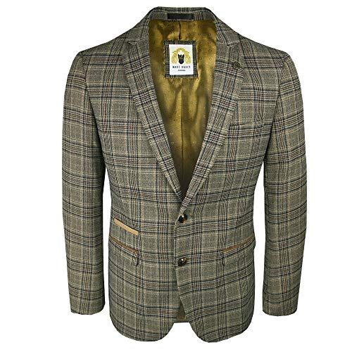 MAR DARCY Enzo Tweed Check Blazer Tan