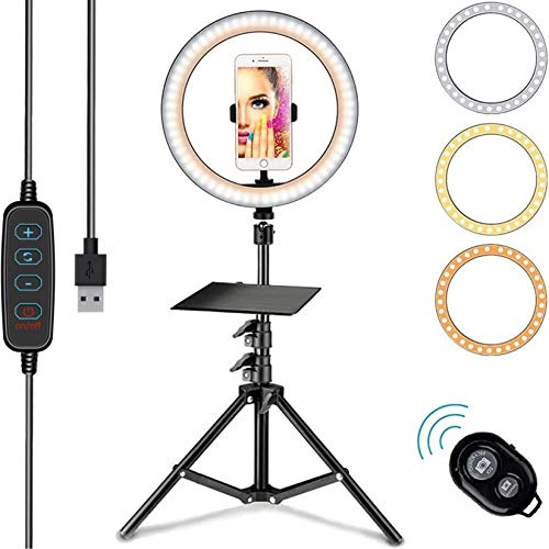 Farsaw 26cm Selfie Ringlicht mit 68-186cm Stativ, Ringlicht mit 3 Farben und verschiedenen Helligkeitsstufen, 3200-5800K, 160 LED Ringleuchte, Bluetooth...