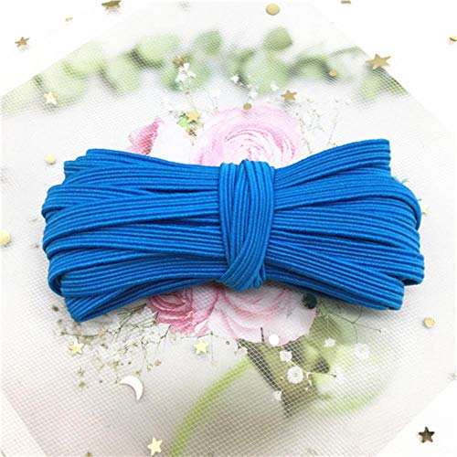 Ltong 6MM Elastic Band Colorful Soft Latex Yarn Elastic Bands Rubber BandSewing Garment Applique Bags Accessories,6mm Lake blue 5meter