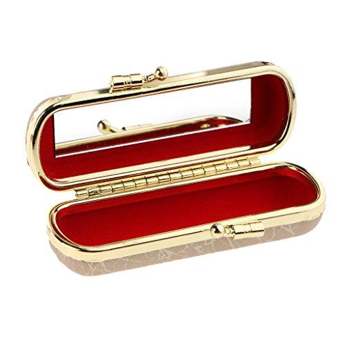 MagiDeal Lippenstiftetui Lippenstift Box mit Spiegel und Druckknopfverschluss, Exquisit Design,...