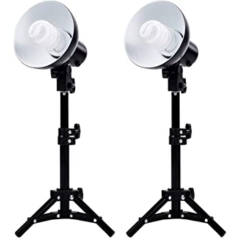 "Fovitec - 2-Light Table Top Fluorescent Lighting Kit for Photo & Video with 15"" Lightstands"
