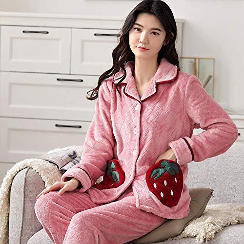 Cxypeng Weich Warm Samt Pyjamas,Dicker Pyjama aus Korallen-Samt mit Revers,...