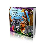 Personalized Story Book by Dinkleboo - 'Visits The Zoo' - For Children Aged 2 to 8 Years Old - A Story About Your Child Going To The Zoo - Soft Cover - Smooth, Glossy Finish (8'x 8')
