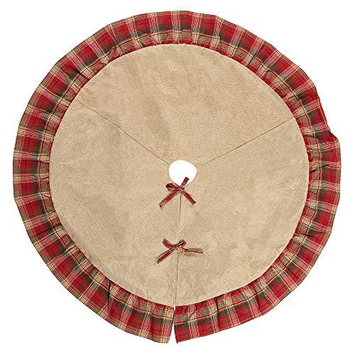 ホリデーデコレーション クリスマスの装飾耐久性のある古布格子サイドツリースカート120 Cmの黄麻布の木エプロンドレスアップ。 宴会や祭りに使用されます (Color : Photo Color, Size : 120cm)