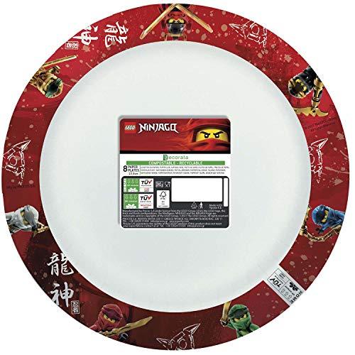 Procos 93126 93126 Lego Ninjago - Platos compostables (8 unidades, 24 cm), multicolor