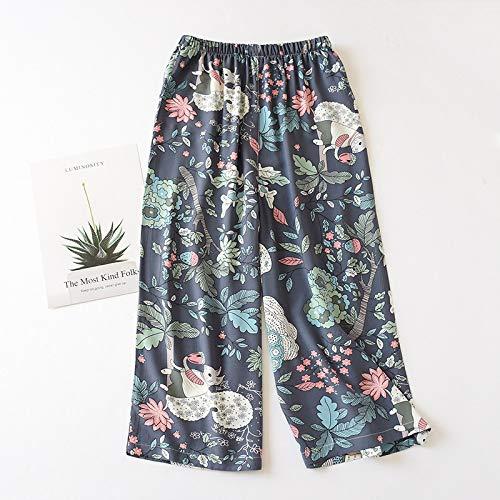 RIQWOUQT Pantalón De Pierna Ancha Mujer Patrón Floral Azul Señoras Inicio Primavera Verano Pijamas Pantalones De Pijama Sueltos Estampados Pantalones De Pantorrilla Pijamas De Salón De Rayón Spu