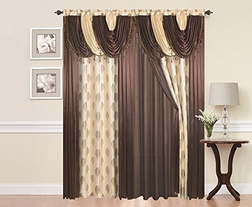 Elegant Home Window Curtain Drapes All-in-One Set with Attached Valance & Sheer Backing for Living Room, Bedroom, Dining Room, Sliding Doors # Helena (Chocolate)