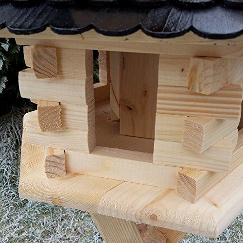 Qualitäts Vogelhaus mit Holzschindeln 6 Eck lasiert Vogelhäuser-Vogelfutterhaus großes Vogelhäuschen-aus Holz Wetterschutz (Braun) - 4