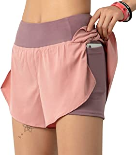 Byinns Women's 2 in 1 Running Shorts Workout Athletic Gym Yoga Shorts Sports Exercise Active Shorts for Women with Pockets