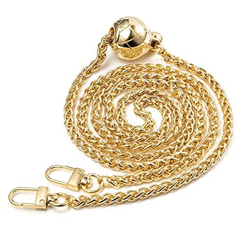 Taschenkette Gold, Diealles Shine 120CM Trageriemen Kette, Verstellbar Kettenriemen für Damen Taschen, Taschenhenkel Kette Gold für Handtaschen Umhängetasche