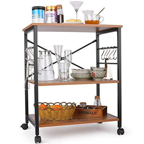 Himimi Kitchen Baker's Rack, 3-Tier Microwave Oven Stand with Metal Frame and 10 Hooks, Industrial Storage Stand for Kitchen Living Room Decoration