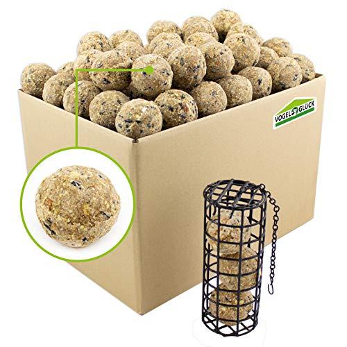 Meisenknödel ohne Netz – 100 Stk. + Spenderbox – ganzjähriges Wildvogelfutter für alle heimischen Vogelarten – inkl. Meisenknödelhalter