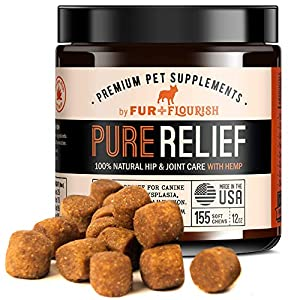 FUR FLOURISH PureRelief Premium Dog Hip and Joint Supplement, Value Pack 155 Soft Chew Treats, Natural Glucosamine Chondroitin MSM Hemp Oil and Turmeric