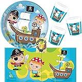 Pirat Treasure Hunt Schatzsuche Partyset 52 Teile für 16 Kinder Teller Becher Servietten