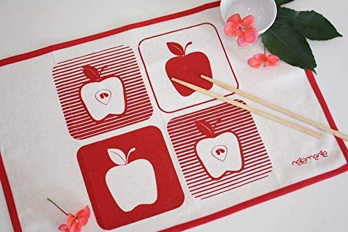 APPLE PLACEMATS set of 2 - Handmade placemat set hand-printed with red apples