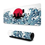 Japan Ocean Wave of Kanagawa Red Sun Asian Art Gaming Mouse Pad XL, Extended Large Mouse Mat Desk Pad, Stitched Edges Mousepad, Long Non Slip Rubber Base Mice Pad, 31.5 X 11.8 Inch