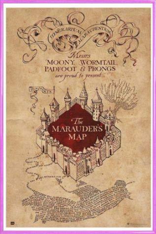HARRY POTTER 1art1 Poster Stampa e Cornice (Plastica) - Mappa del Malandrino (91 x 61cm)