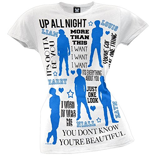 One Direction 1D Silhouettes Juniors T-Shirt, White, X-Small