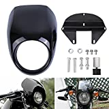 Motorcycle Headlight Fairing Glossy Black Front Fork Cowl Visor with Bracket Compatible for Harley Sportster XL Dyna FX 883 1200 1982-2020