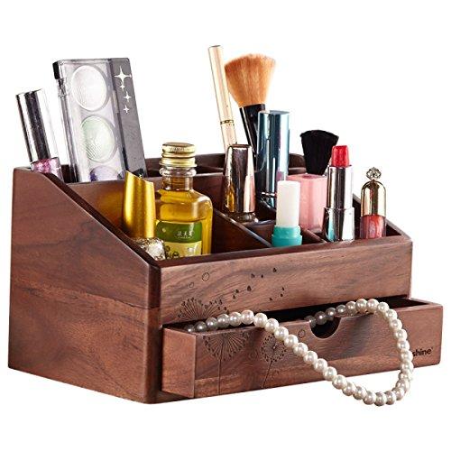 LANLANLife Caja de Almacenamiento de Madera Vintage Desktop Organizer Cosmetic Lipstick Simple Storage Rack (22 * 13.8 * 12.3cm) Marrón (Color : Dandelion)
