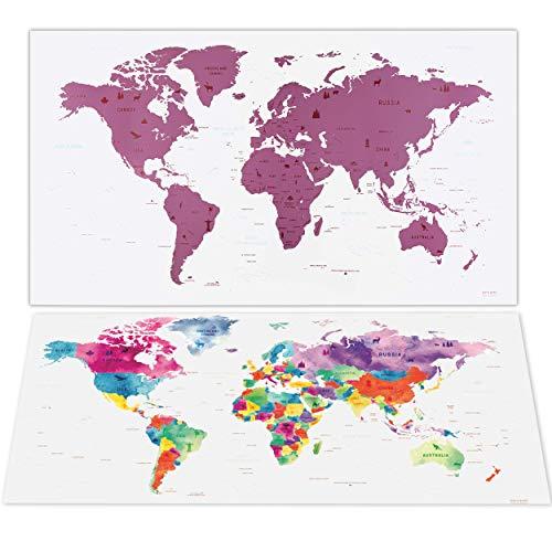 envami Mappa da Grattare Mondo - 80 x 40 cm - Rosato - Mappamondo - Cartina Mondo - Scratch-off Travel Map