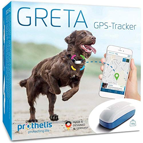 Greta 090148-02 GPS Tracker für Hunde, Katzen, Kinder und Wertgegenstände, Hundetracker Liveortung + Warnsystem per APP, Peilsender Wasserdicht,genaue GPS Ortung,32g leicht, Made in Germany
