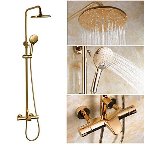 AXIANNV Duschkopf Luxus schwarz/gold/weiß Regendusche Set Thermostat Dusche Wasserhahn Messing-Mischbatterie, Gold