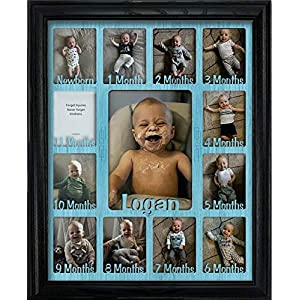 Northland Baby First Year Personalized Frame – Holds Twelve 2.5″ x 3.5″ Newborn Nursery Decor Photos and 5″ x 7″ One Year Picture, Multiple Color Options, Customizable with Any Name