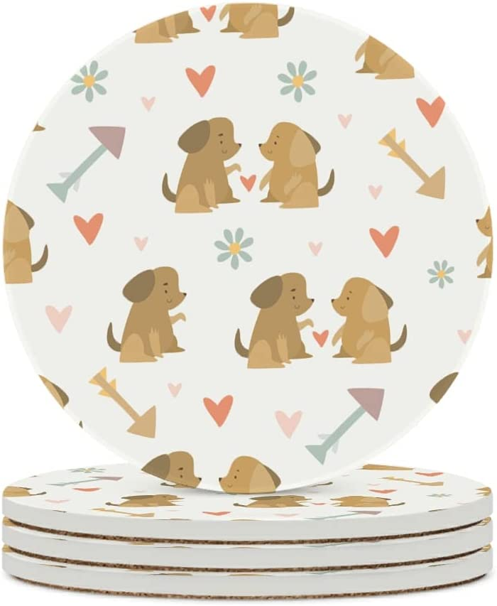 Facbalaign Salvamanteles de cerámica con diseño de perro y corazón, con base de corcho resistente a los arañazos, protección del medio ambiente, antideslizante, color blanco, 6 unidades
