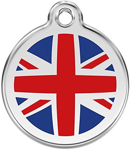 Red Dingo Medaille voor honden, Engelse vlag, 20 mm, rood