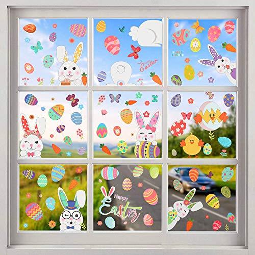 TaimeiMao 9Pcs Fensterdekoration Ostern,Aufkleber Hase Ostereier,Fensterdekoration Ostern Wiederverwendbar,Osterei Aufkleber Kaninchen,Kind Fenster Aufkleber,Kinder Aufkleber selbstklebend Ostern